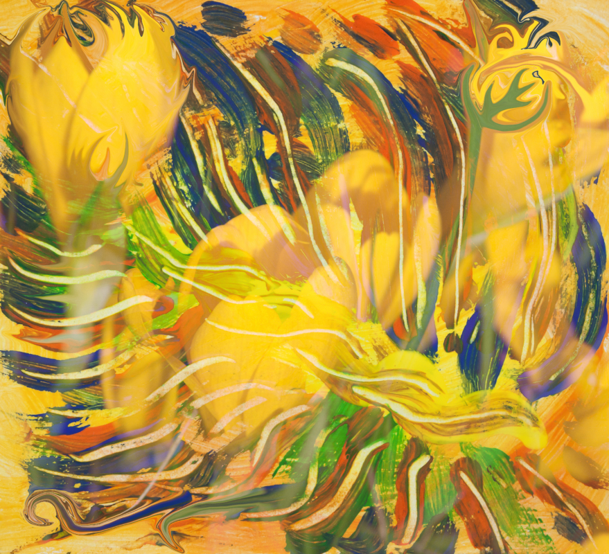 Deep Yellow Flowers Abstraction